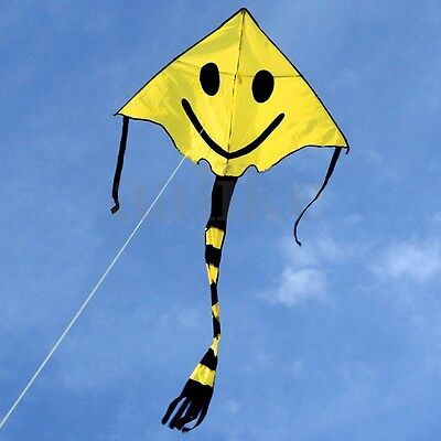 Cute Smiley Face Kite Easy to Fly Single Line Fun Childrens Kids Toy Gifts