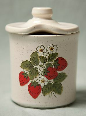 Vintage Strawberry White Flowers Design Sugar Bowl with Lid Great Condition