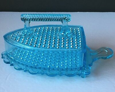 Blue Early American Pressed Glass Sad or Flat Iron Butter Dish