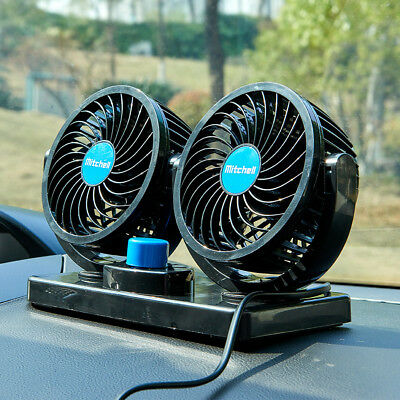 12V 360° Rotation Car Vehicle Cooling Twin Air Fans Silent Cooler 2 Speed Silent