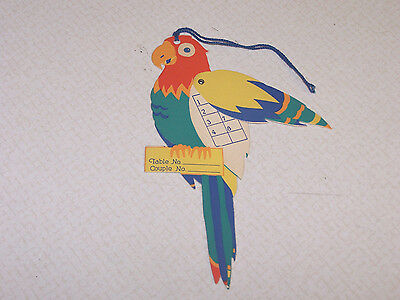 Adorable brightly-colored vintage parrot bridge tally card ~ wings move