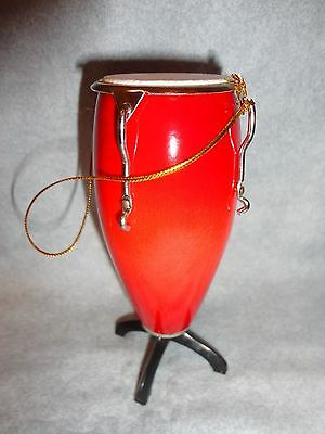 Red Conga Drum Musical Instrument Ornament 4 Inches