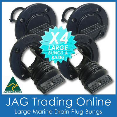 4 x LARGE BLACK COMPLETE DRAIN PLUG BUNGS - BOAT/MARINE/ESKY BUNGS COARSE THEAD
