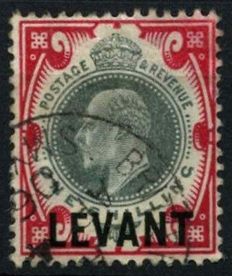 British Levant 1905-12 SG#L10, 1s Dull Green & Carmine KEVII Used #D47625