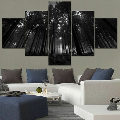 Landscape Wall Art Modern Black Forest Trees Giclee Canvas Print Home Decor 5PCS