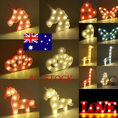 LED Heart Home Decor Night Light Unicorn Love Crown Giraffe Party Bedroom Gifts
