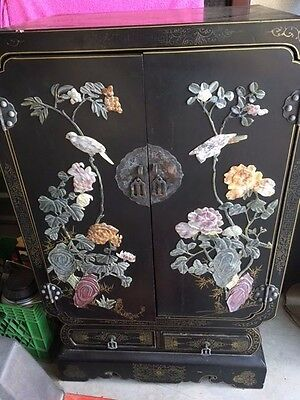 Oriental Black Lacquer Cabinet with Soapstone Motif