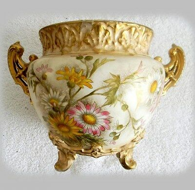 Royal Bonn jardiniere - Franz Mehlem ca 1900 - flowers and gold - FREE SHIPPING