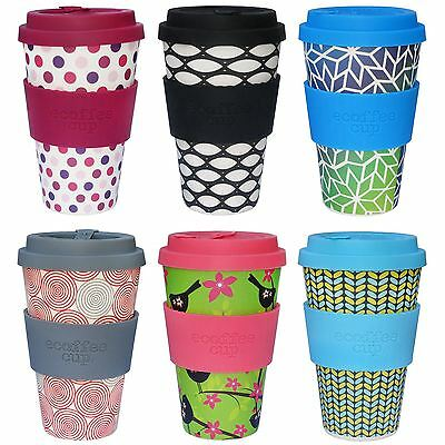 Ecoffee Cup 400ml 14oz Reusable BPA Free Bamboo Tea Coffee Travel No-Drip Mug