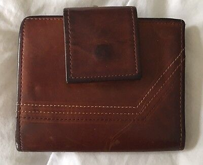 Rolfs Women's Clutch Wallet, Brown Leather Small Vintage, Great Worn Look