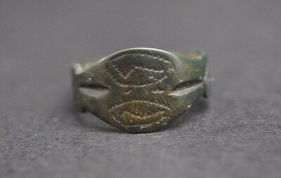 Viking Bronze Decorated Finger Ring 11Th Century Ad