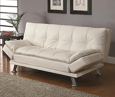 New White Bycast Leather Futon Sofa Bed Sleeper with Casual Seam Stitching