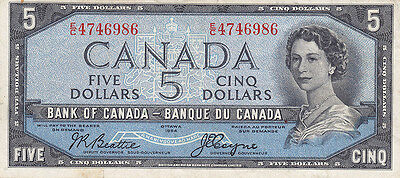 1954 Bank of Canada $5 Devil's Face Bank Note – Beattie/Coyne