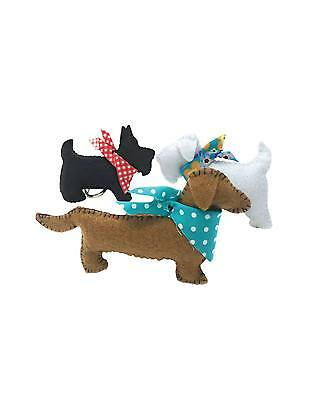 The Crafty Kit Co 3 Felt Puppies sewing kit & pattern