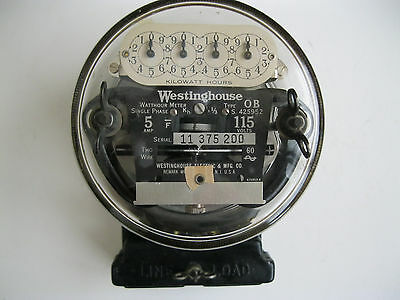 Westinghouse Type OB Electrical Usage 2 Wire Watthour Meter  Antigue 5A