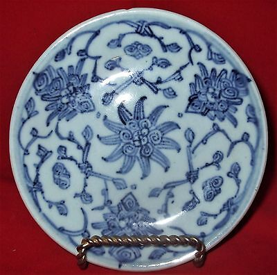 Antique Chinese 19Th Century Small Blue Floral Plate * Hand Painted Porcelain