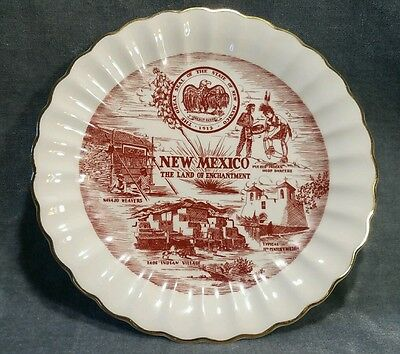 """New Mexico Souvenir State Plate.  Vintage w/ thick Gold edging 7 1/4"""" plate sz"""