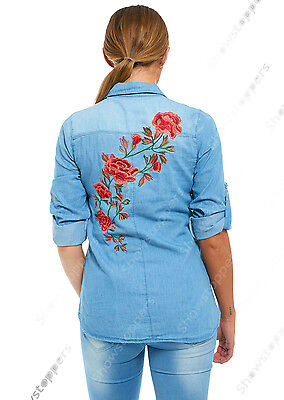 NEW Womens Denim Blue Shirt Ladies Flower Embroidered Shirts Size 8 10 12 14