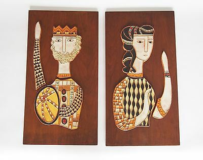 Pair Mid-Century Modern Harris Strong King and Queen Tile Plaques