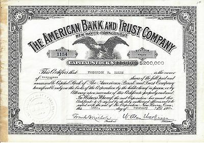 The American Bank And Trust Company (New Haven, Ct)....1945 Stock Certificate