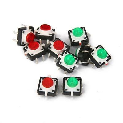 10pc Mini Tactile Push Button Switch Momentary With LED 4-pin DIP Green Red