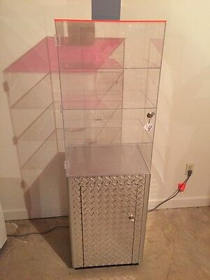 Free Standing Store Display Case Locking Acrylic Top And Storage Below
