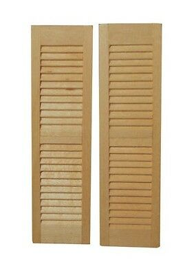 Pair of Wooden Louvre Window Shutters, Dolls House Miniature DIY Fixture