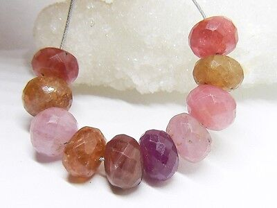 10 NATURAL FACETED MULTI PINK RED ORANGE RUBY  SAPPHIRE RONDELLE BEADS 7-7.5mm