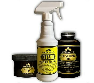 Obenauf's Leather Care Package Clean, Condition, Protect Leather Goods