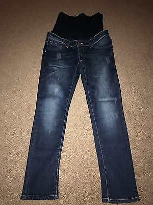 Mothercare Blooming Marvellous Maternity Blue Overbump Skinny Jeans - Size 10