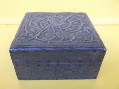 183 / Antique Arts And Crafts Celtic Design Pewter Clad Box With Hinged Lid