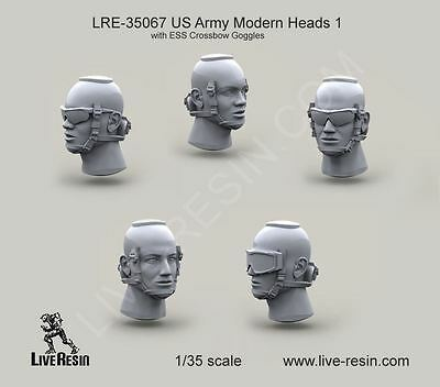 Live Resin 35067 x 1/35 US Army Modern Heads w/ESS Crossbow Goggles