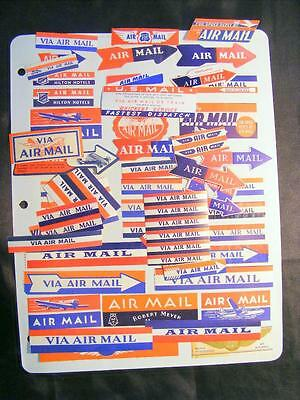 Poster Stamp Collection 50+ Airmail Etiquette Labels 4 Hotel Labels