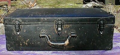 "Antique / Old Black Metal Lined Army Storage Trunk 24"" x 12"" x 8"""