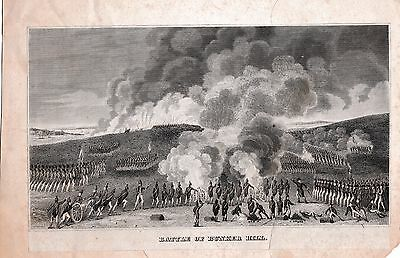Rare Battle Of Bunker Hill Engraving ~ Troops Cannons Cannonballs Fire