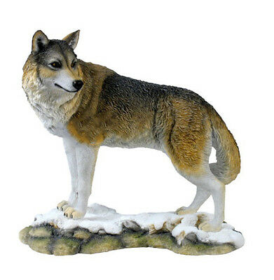 "9.75"" Lone Wolf Nature Wildlife Animal Statue Collectible Wild Sculpture"