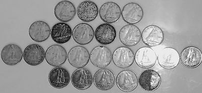 Lot of (24) Canadian Dimes Mostly 80% Silver 1942-1974  #C146