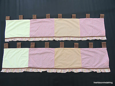 Cocalo Baby Set of 2 Tropical Punch Valance Curtains Pink Yellow Brown Patchwork