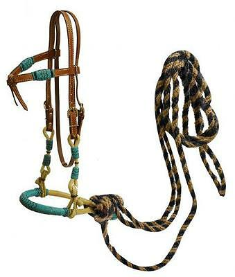 Showman Futurity Knot Leather Headstall w/ TEAL rawhide Bosal & Mecate Reins!