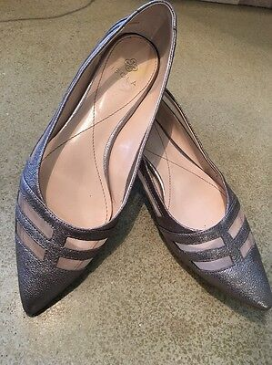 ISOLA Anthropologie Women's Silver champagne  Shoes Size 9.5 M Slipper Flats