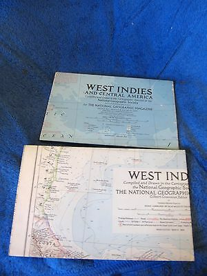 Vintage Maps  (Two)  1. West Indies (1954)  & 2. W. Indies & Central Am(1970) NG
