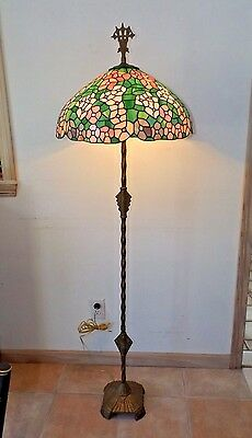 Antique 1900 Incredible Art Deco Floor Lamp w/Vintage Stained Glass Shade Excel.
