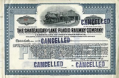 The Chateaugay and Lake Placid Railway Company stock certificate, 1922