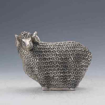 Chinese Tibetan silver Hand-Carved  Sheep Statue gd2652