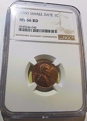 1960 Small Date Lincoln Memorial Cent  NGC MS 66 RD Free Ship!