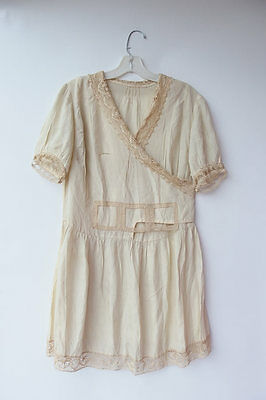 Vintage 20s Ivory Silk Crochet Lace Flapper Grad Wedding Dress Repair/Study S/M