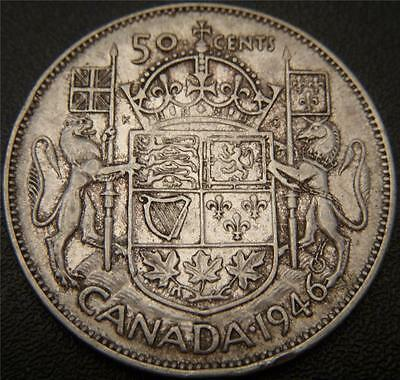 1946 Canadian Fifty Cent - Silver Half Dollar - Ear and Some Hair Details Show