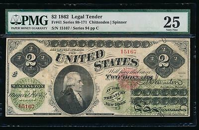 AC Fr 41 1862 $2 Legal Tender PMG 25 EARLY TYPE
