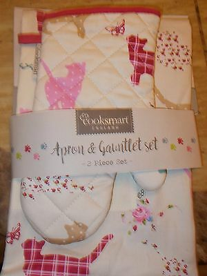 PATCHWORK CATS APRON & OVEN MITT SET NEW FROM ENGLAND (COOKSMART) free shipping