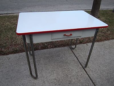 Vintage WHITE & RED Art Deco Enamel Top Metal Table -Sturdy. Local PickUp Only